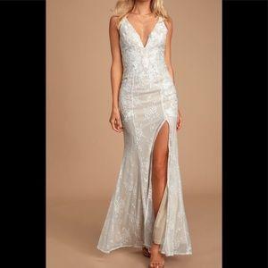Anabella ivory lace v neck dress
